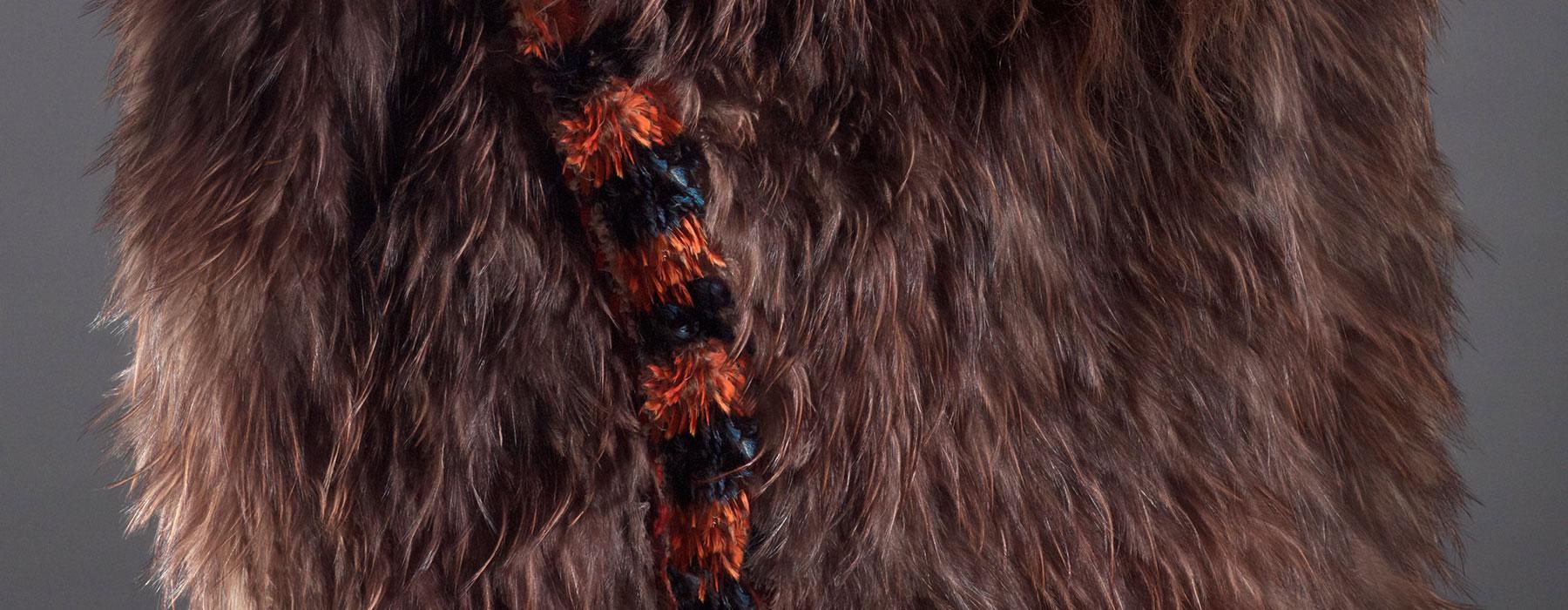 [Detail] Atareta Sciascia wearing kahu kuri. Te Papa