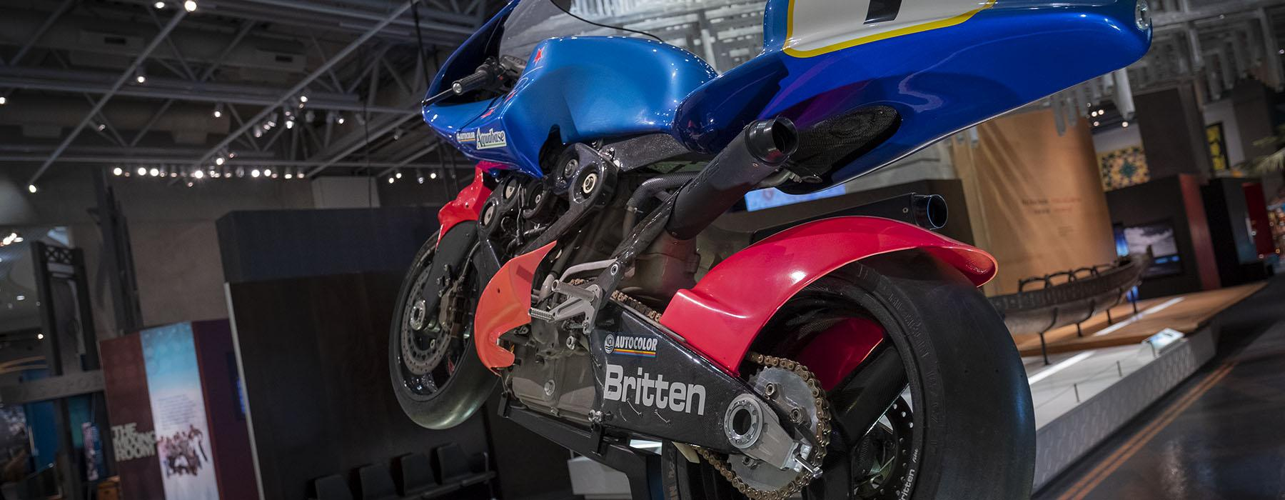Close up of a motorbike in the museum