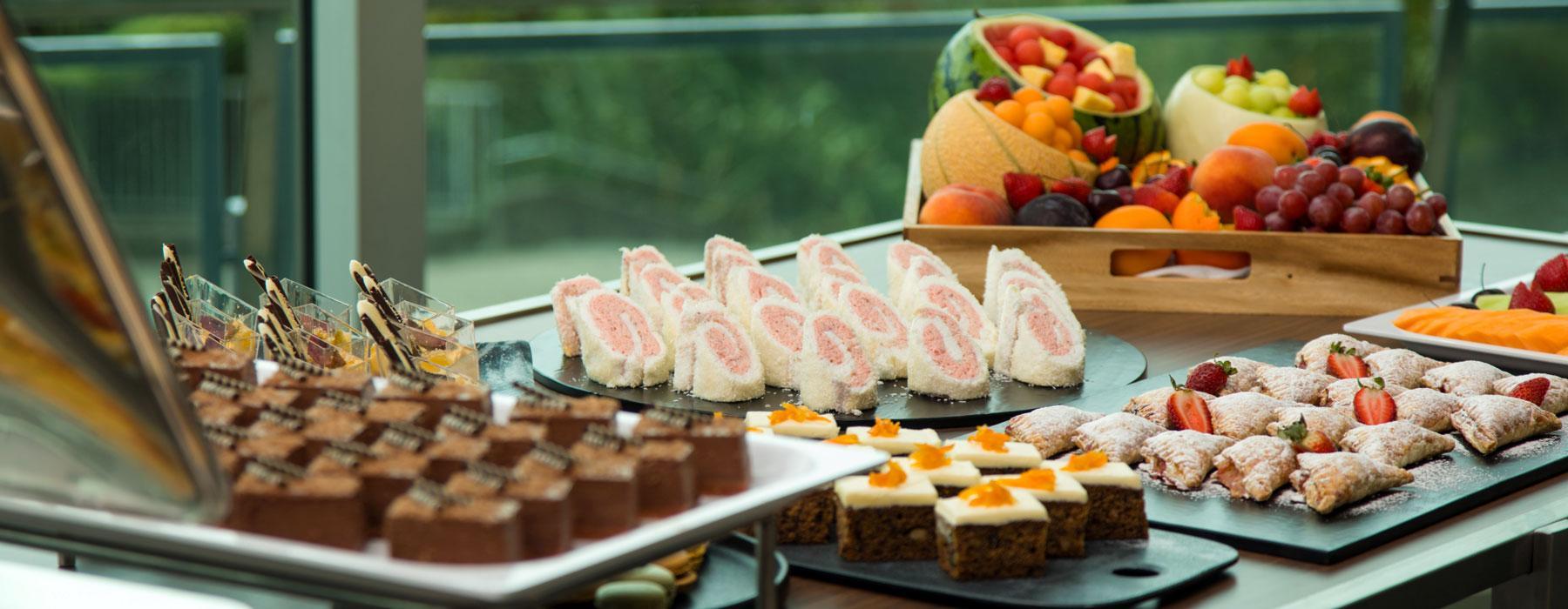 A buffet set up