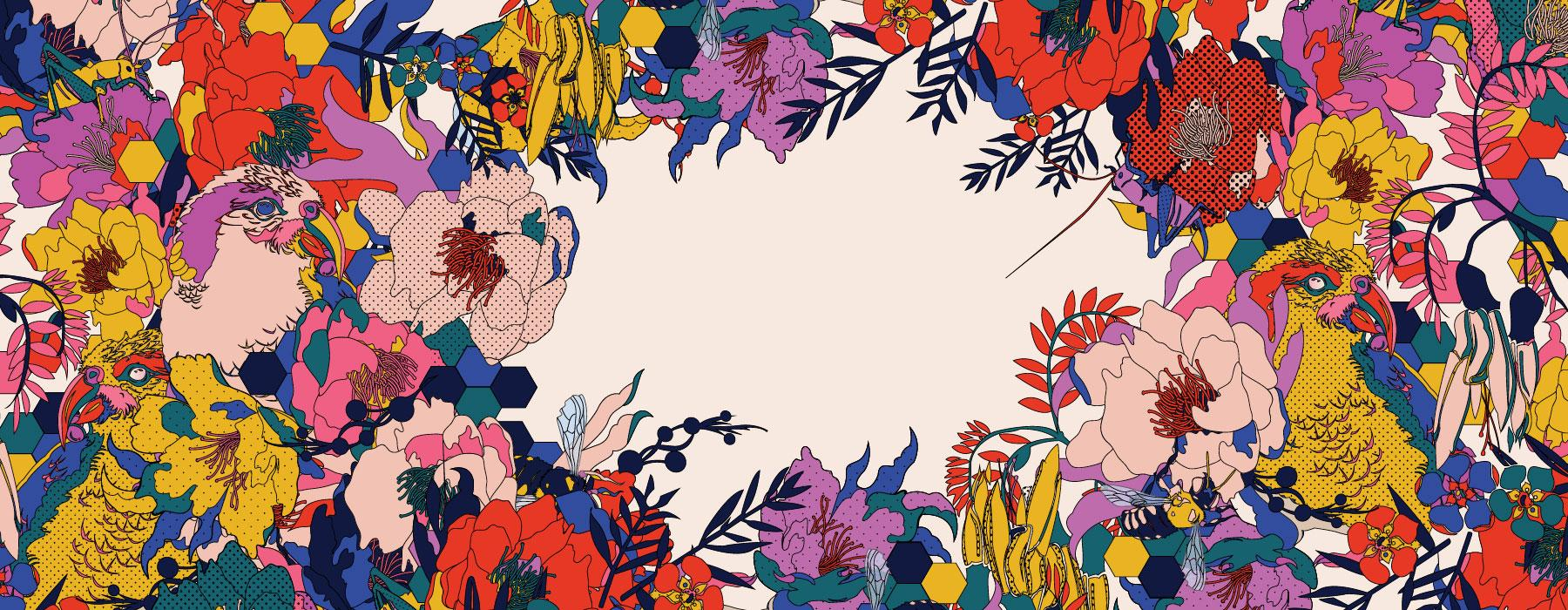 Flowers and birds design, 2018. Created by Chloe Reweti. Te Papa