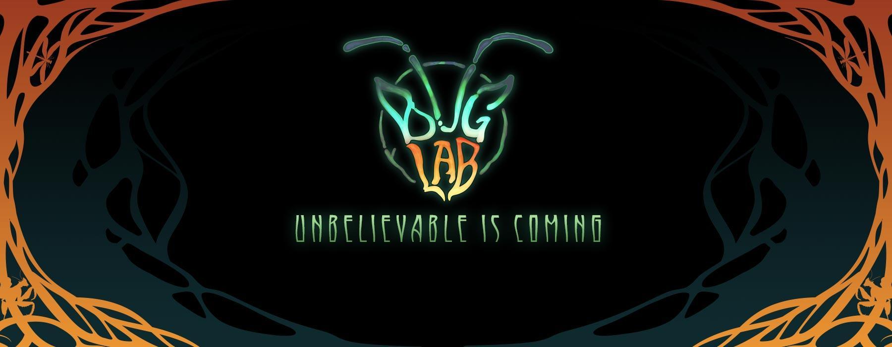 An art deco design borders a logo with looks like a bug's head but says 'Bug Lab'