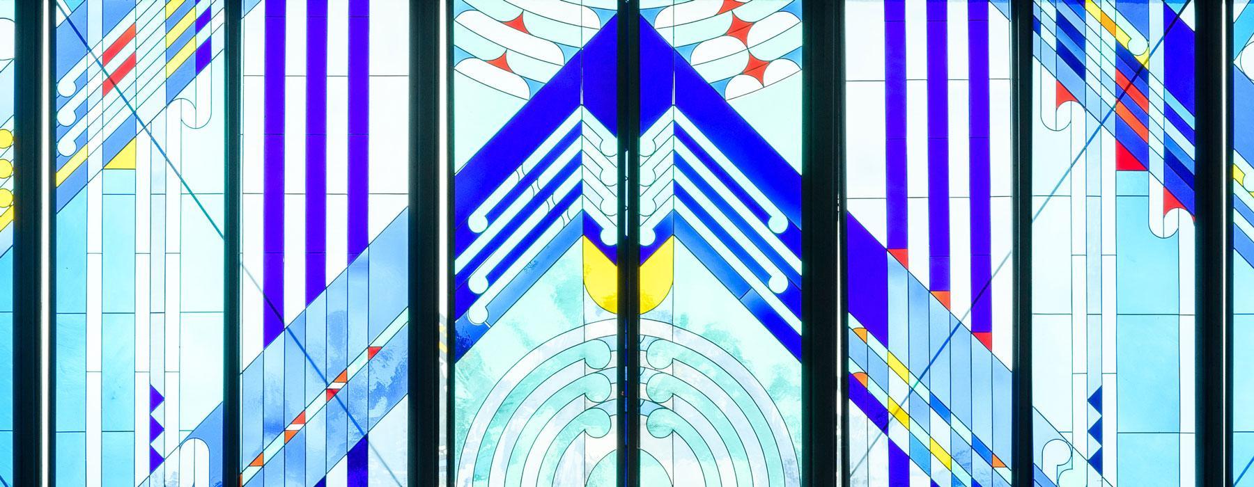 Detail of the windows in Te Marae