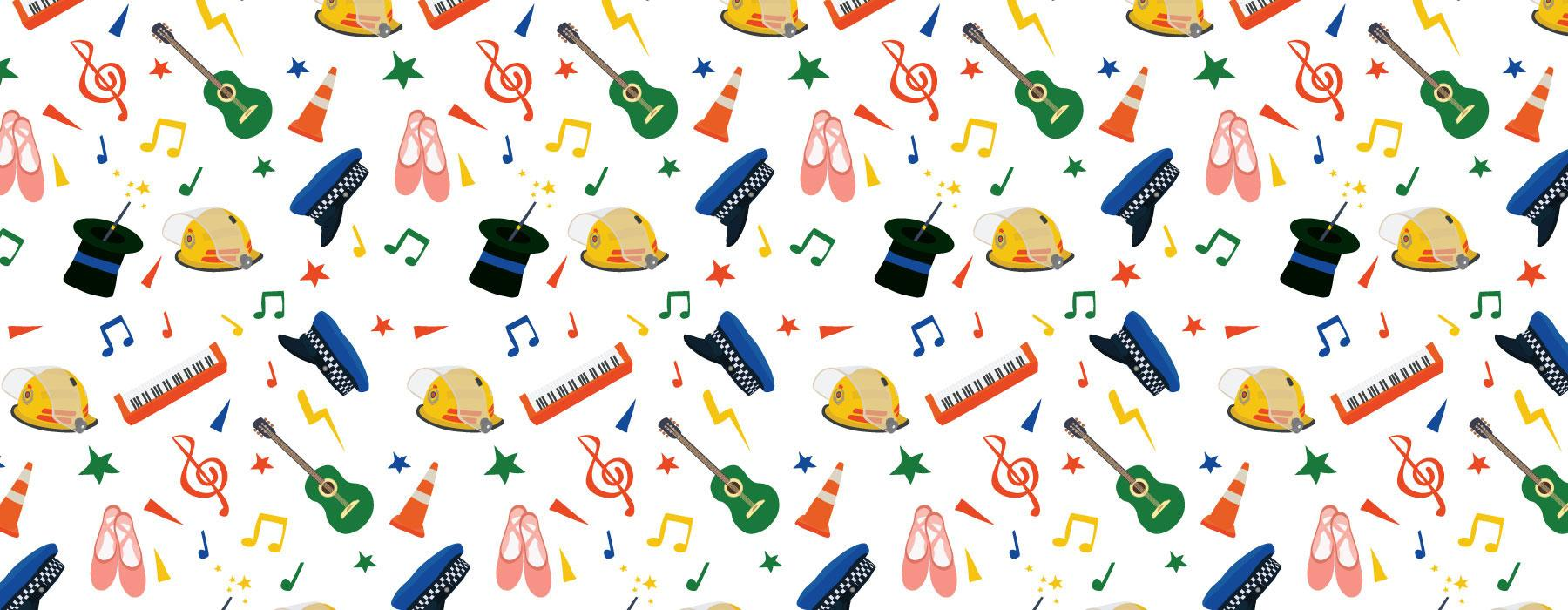 A fun design including guitars, ballet shoes, fireman and police hats