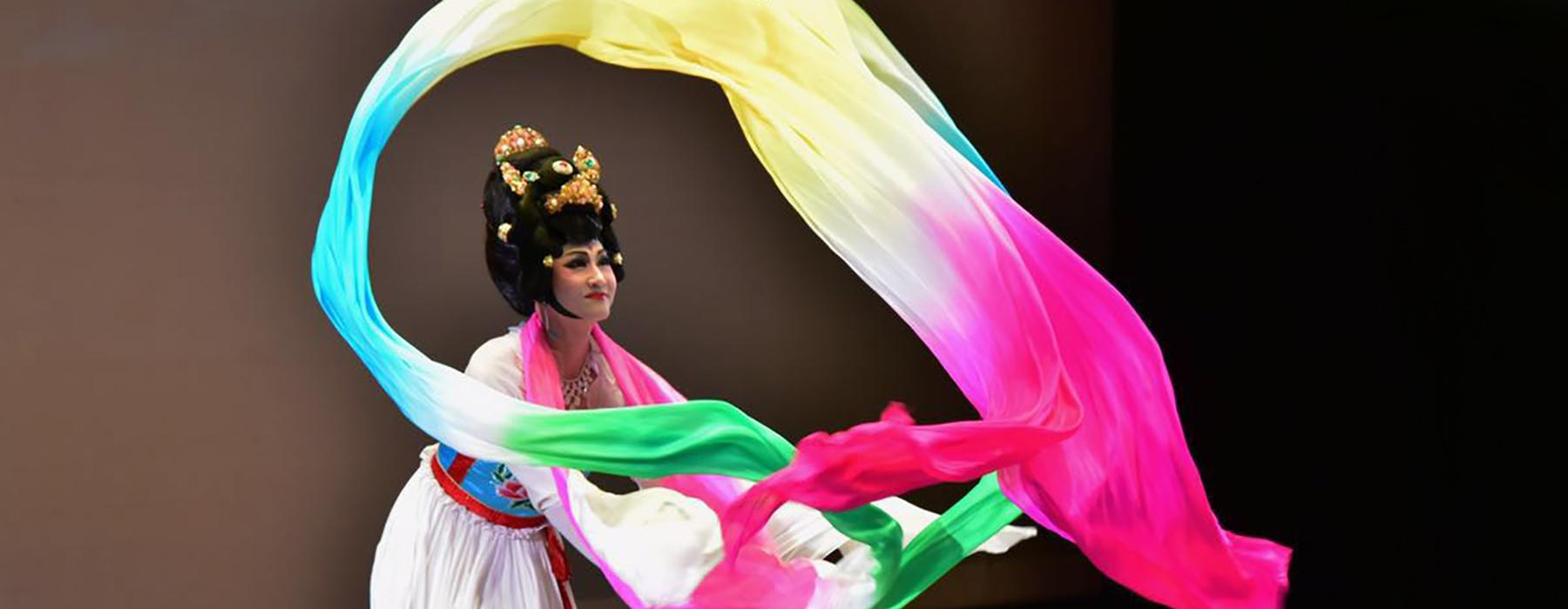 Lady performing a Chinese Ribbon Dance