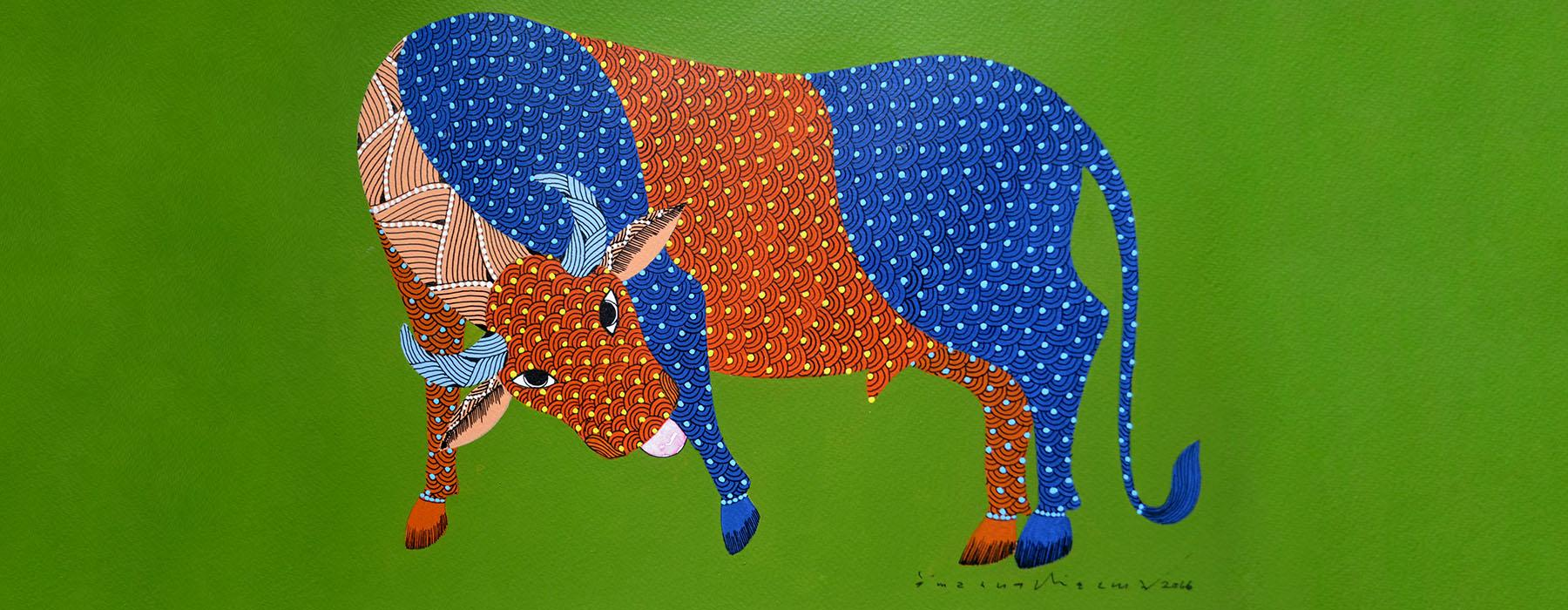 Gond art bull in green and orange