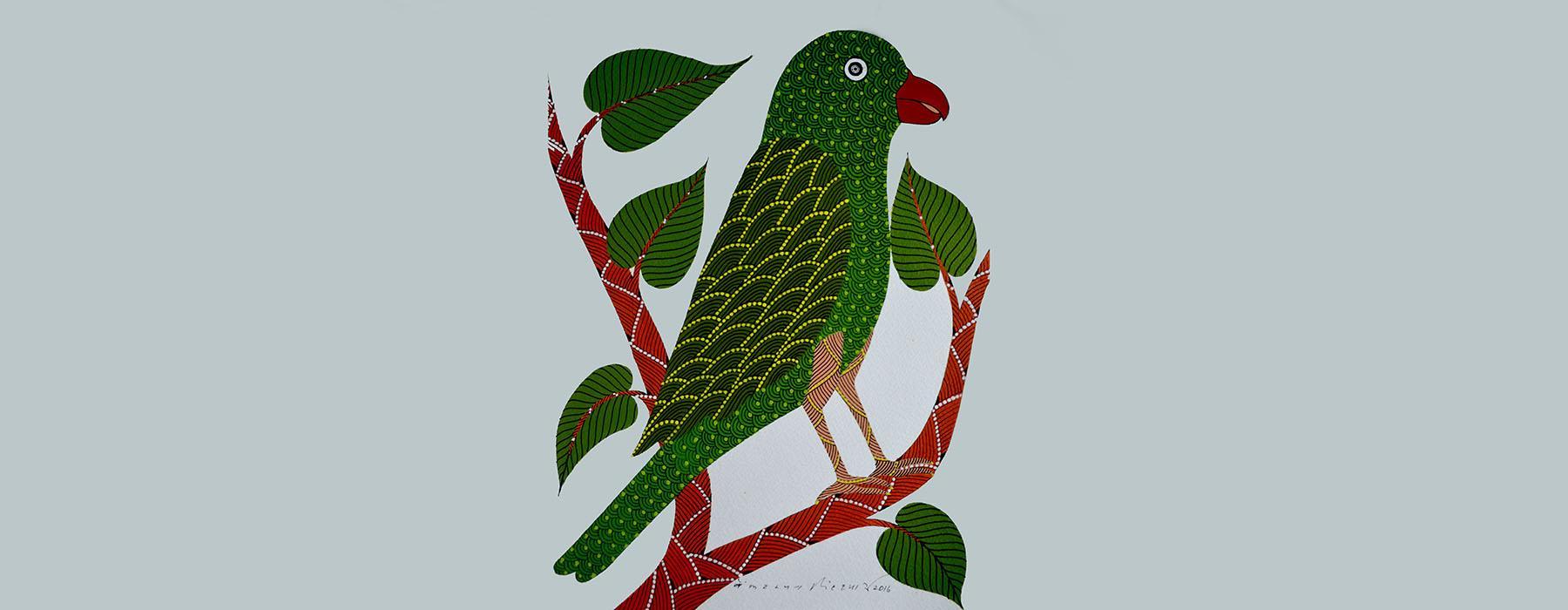 Gond art image parrot