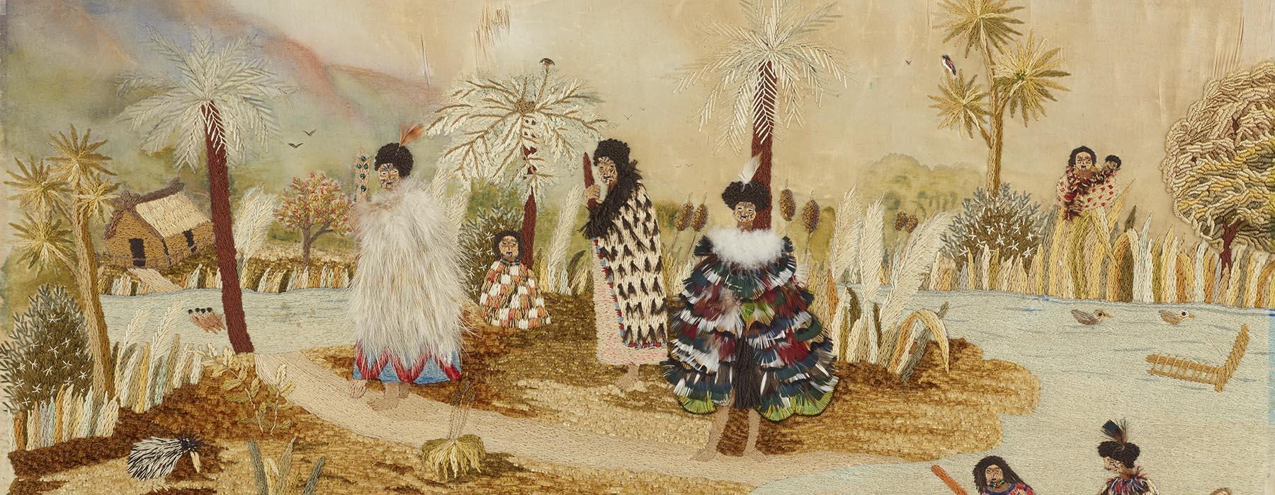 An embroidered scene of a Maori village