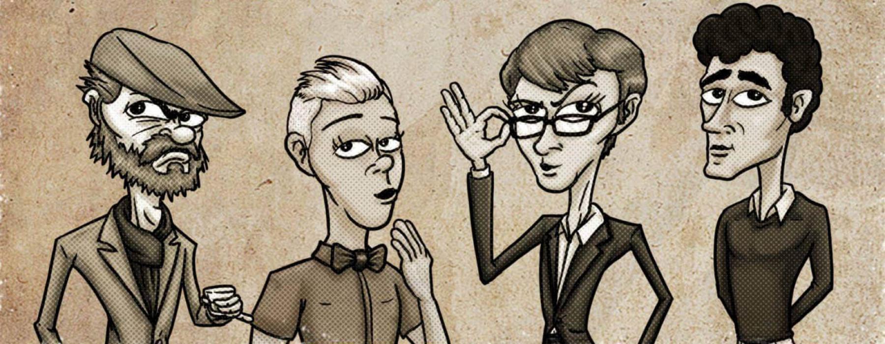 Illustration of the Wellington Pub Poets Society