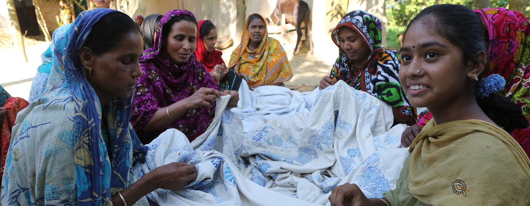 Stitching a kantha near Bogra, Bangladesh