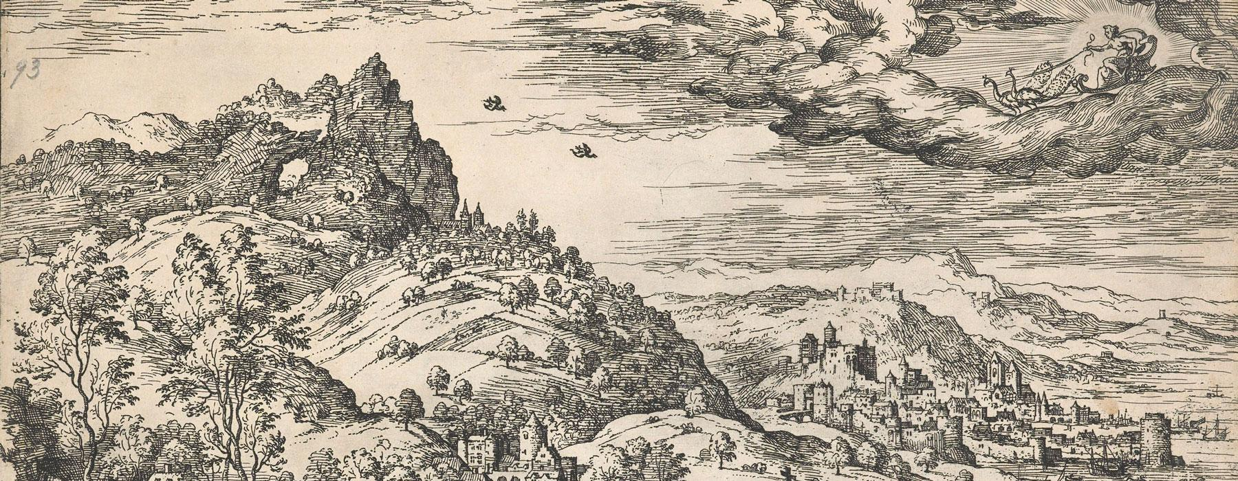 Detailed etching of a landscape with biblical and mythological scenes