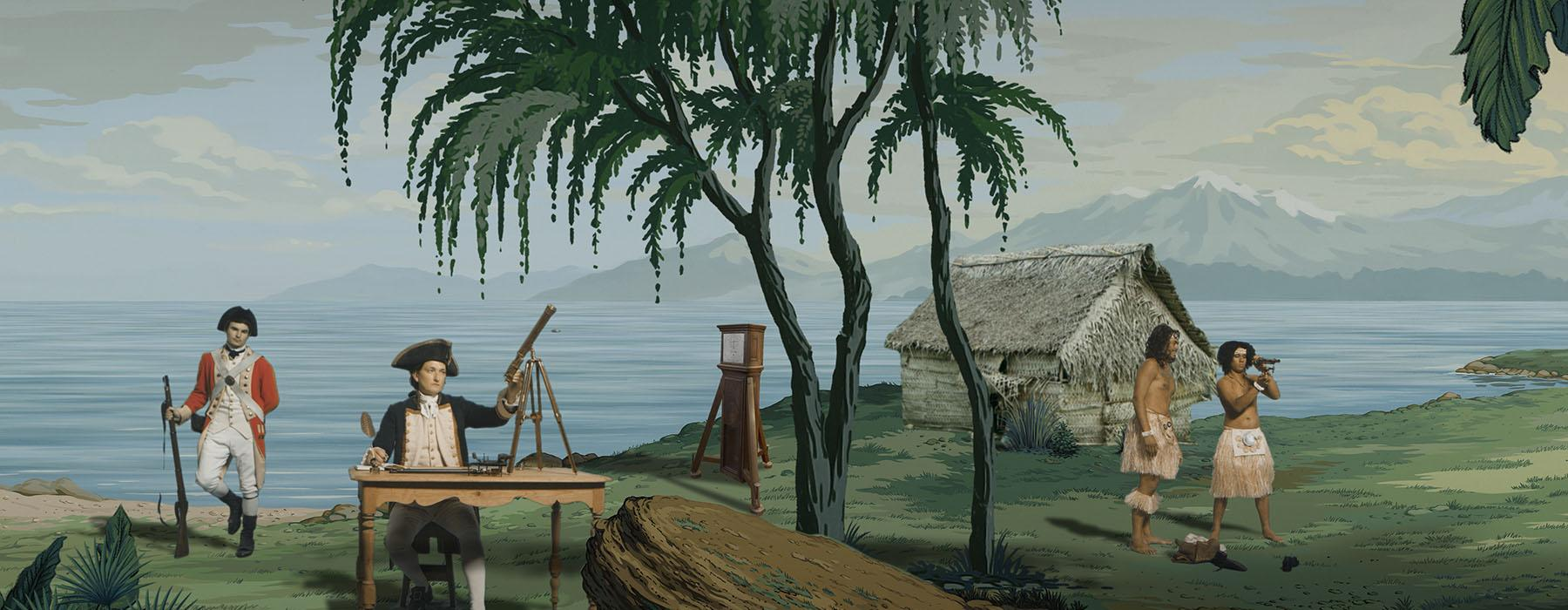 Still from a video featuring an illustrated coastal and mountainous landscape. In the foreground is an actor playing Captain Cook, a soldier, a Grandfather clock, a hut, and two Māori men