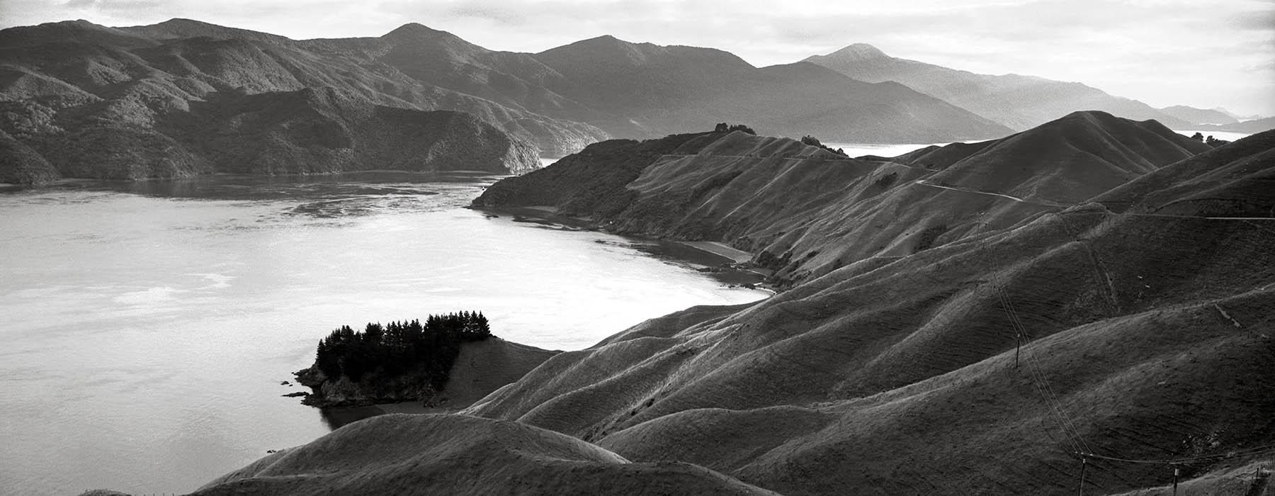 Black and white photograph of French Pass, Marlborough Sounds