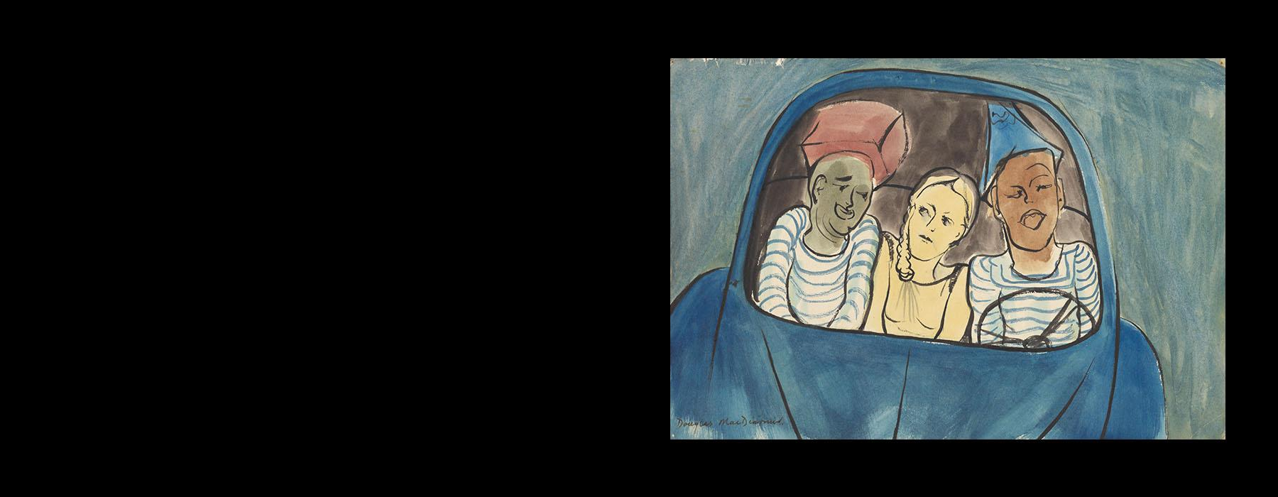 Watercolour painting of three people squeezed into a blue car. A women is in the middle and two men in white T-shirt with blue stripes sit either side of her