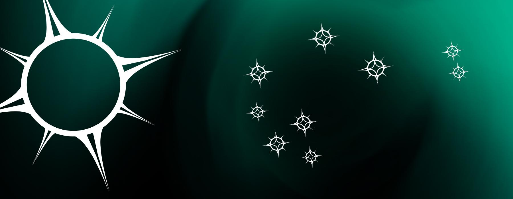 A green panel with a large star and nine other smaller stars arranged on it