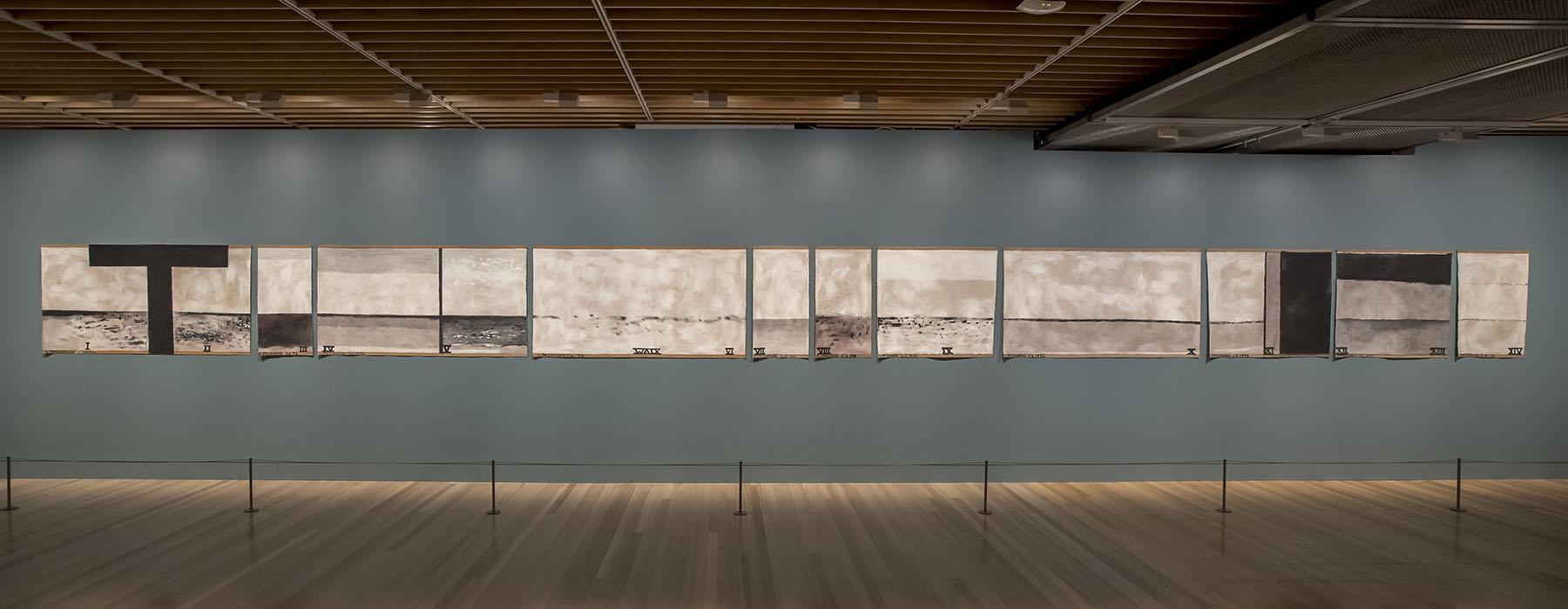 Colin McCahon's Walk (Series C) hangs on a wall in Toi Art