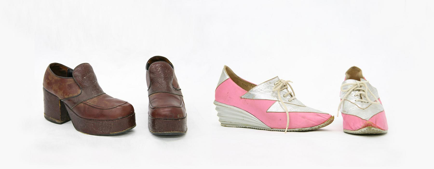 Two pairs of shoes from the 1970s, one brown pair and one pink and white pair