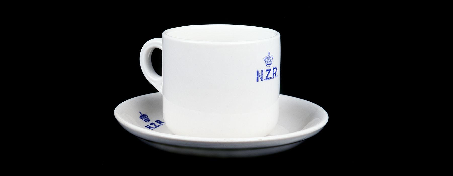 Cup and saucer, 1955, New Zealand, by Crown Lynn Potteries Ltd. CC BY-NC-ND licence. Te Papa (CG001384)