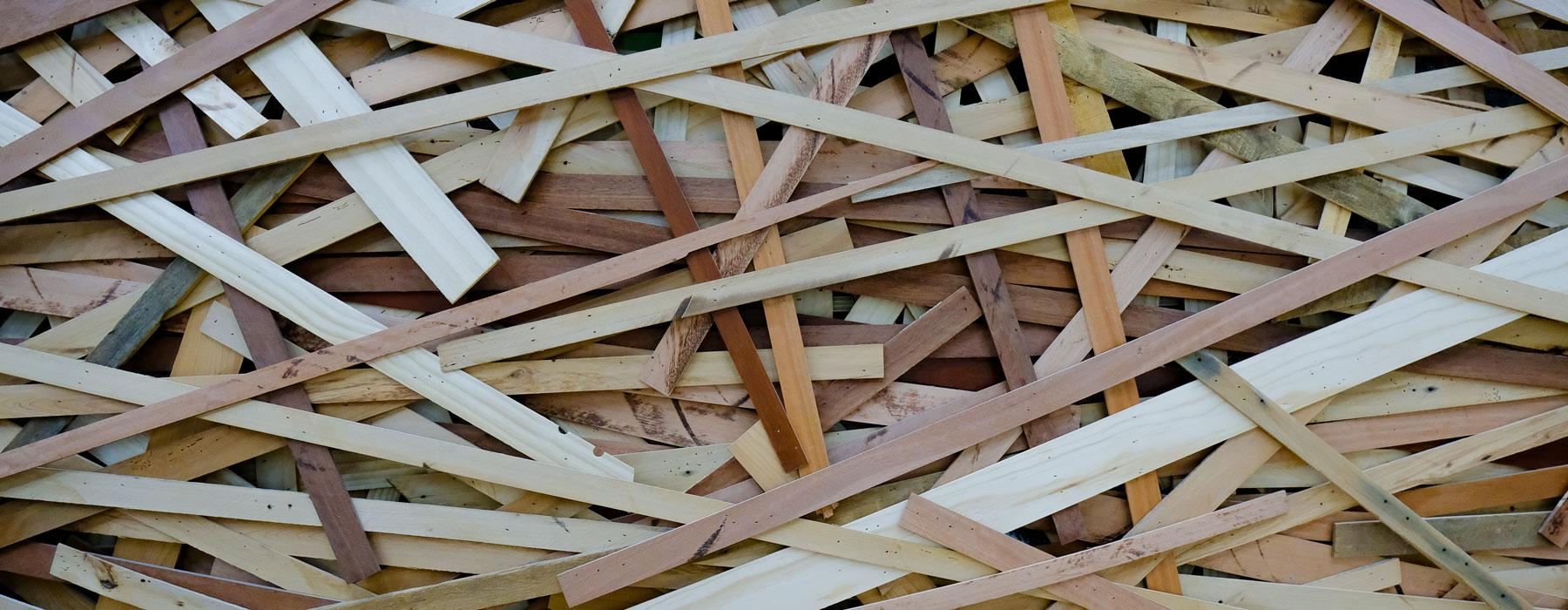 Wooden materials placed together to look like a nest
