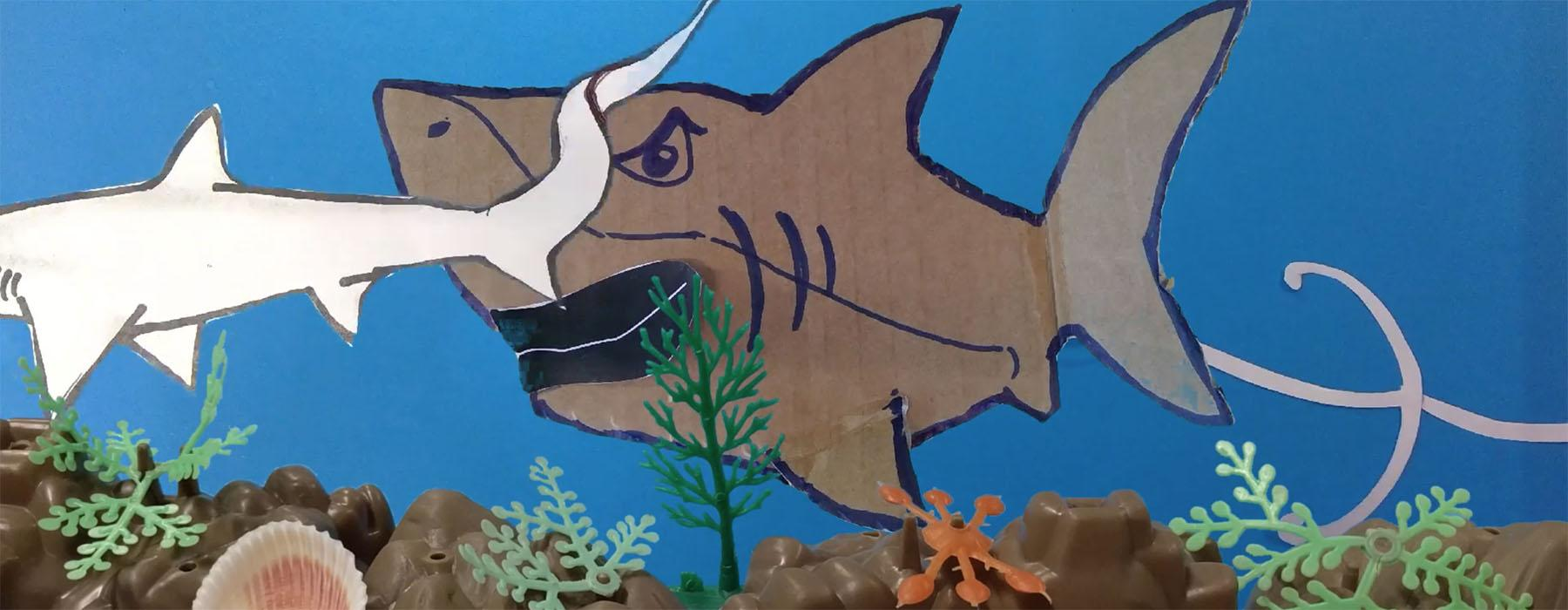 Screenshot of a video showing two cardboard sharks floating in a sea