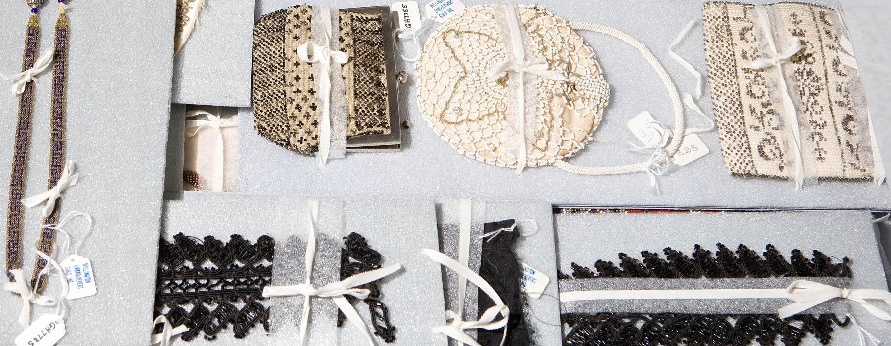 Textiles in flat storage at Te Papa