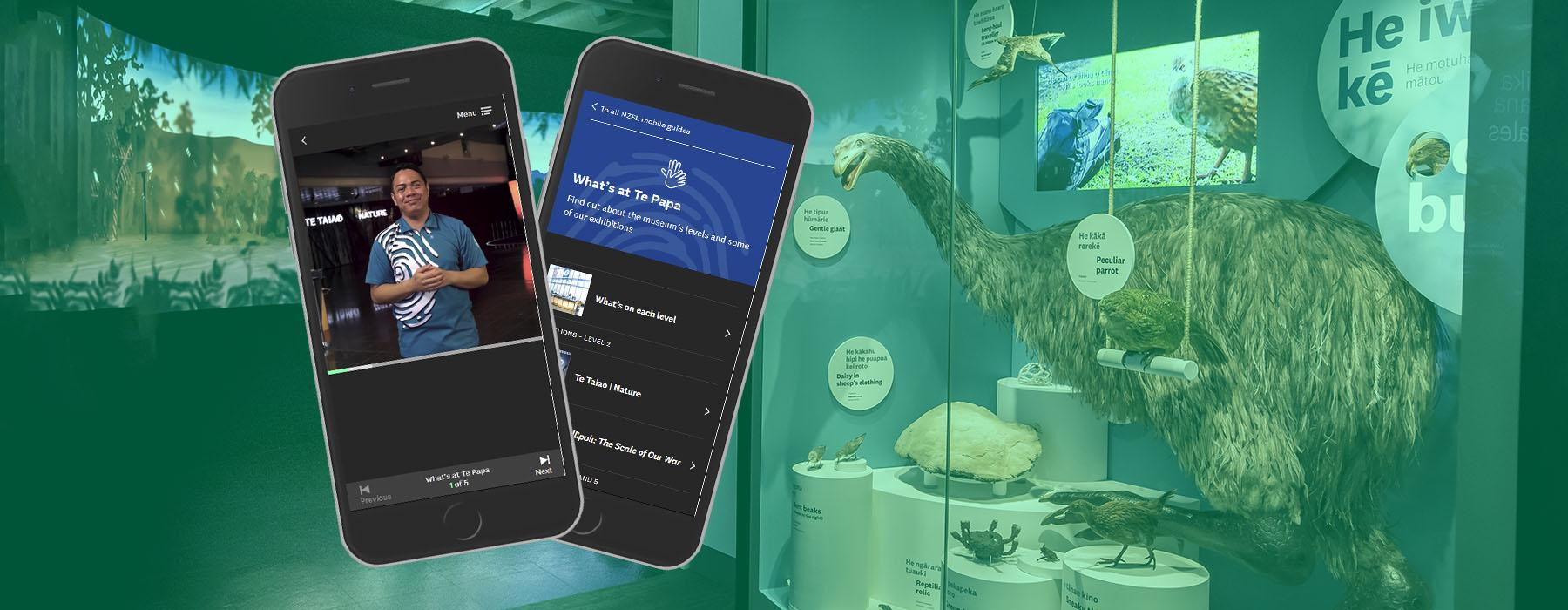 View of the entrance area of Te Taiao Nature, with a moa in a case on the right and a large projected animation on the left. Two phones are superimposed on top displaying the mobile guide