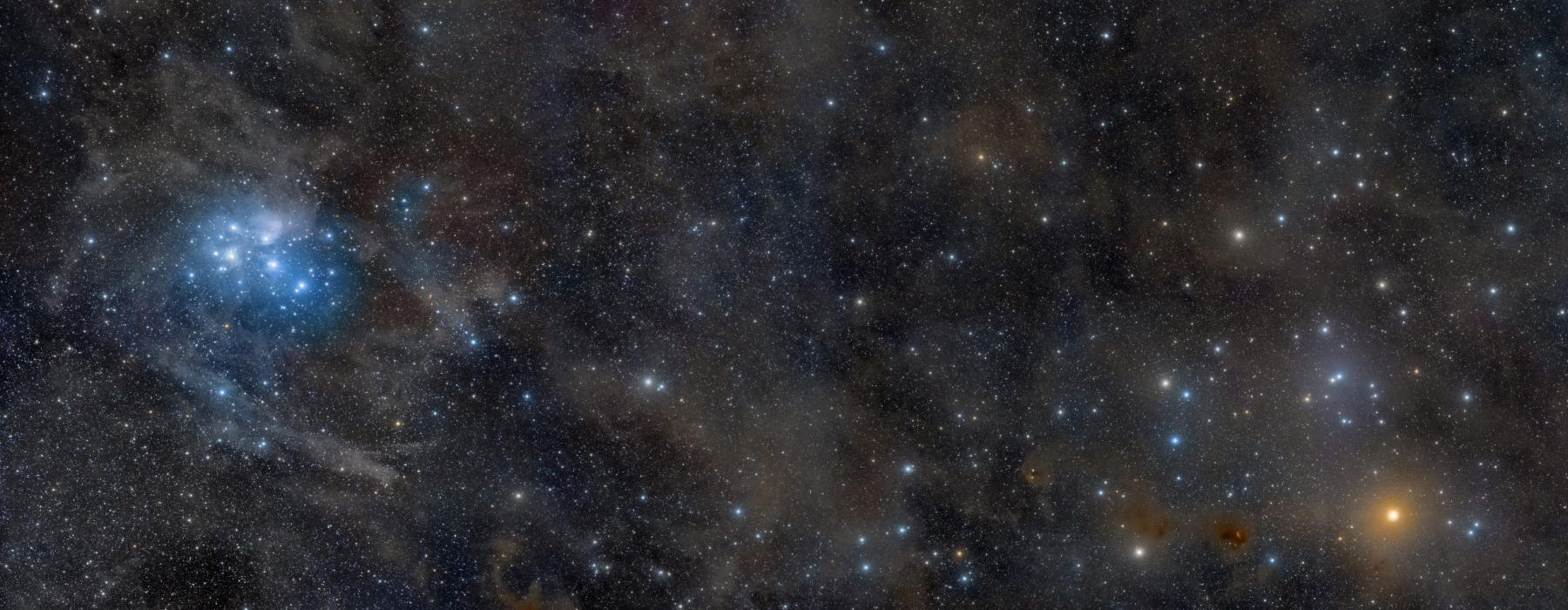 The Matariki star cluster situated in the night sky