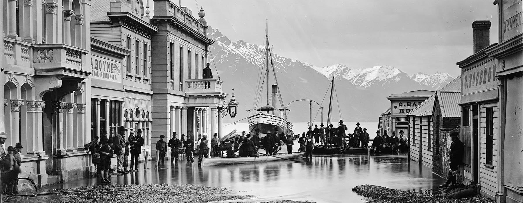 Photograph of Queenstown flooded in 1878
