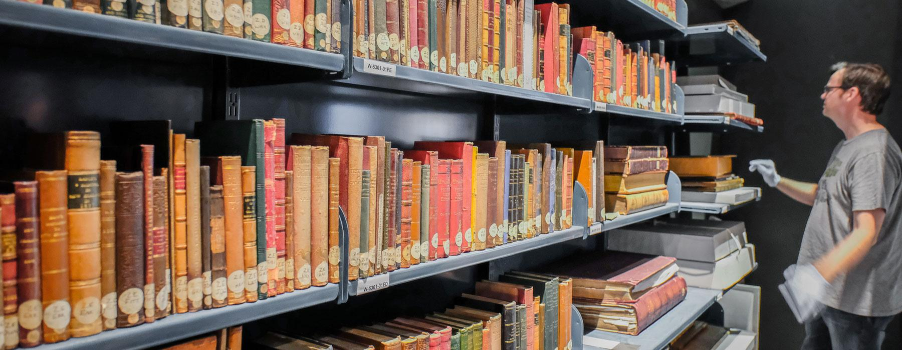 Librarian with rare books