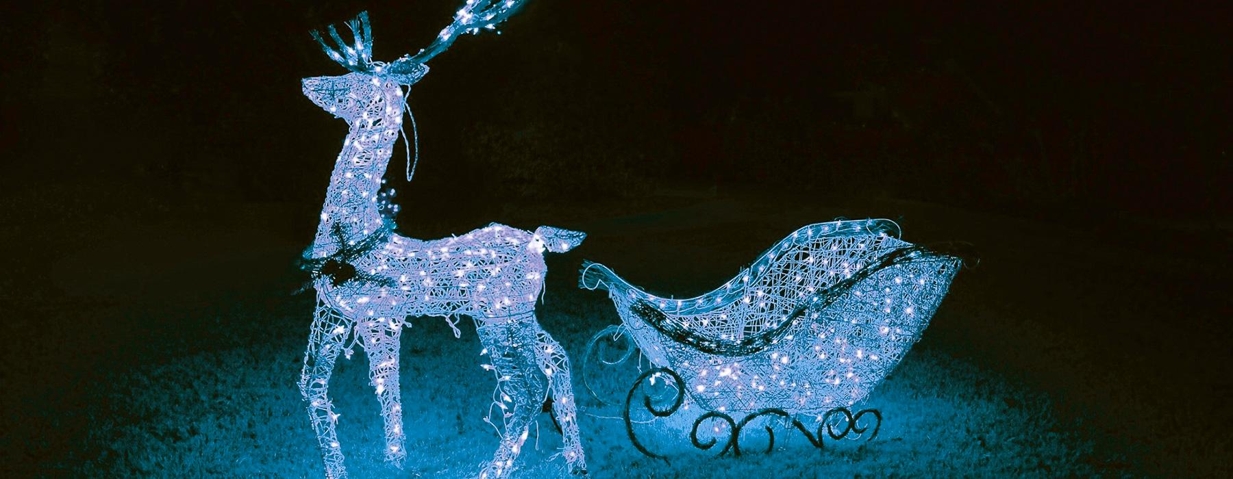White sparkling reindeer with sled