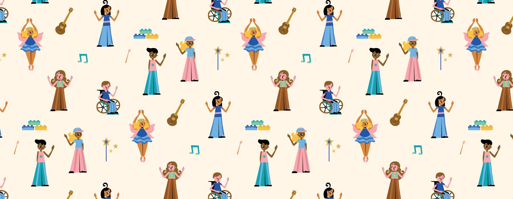 A cartoon illustration of a repeating pattern of people doing different things