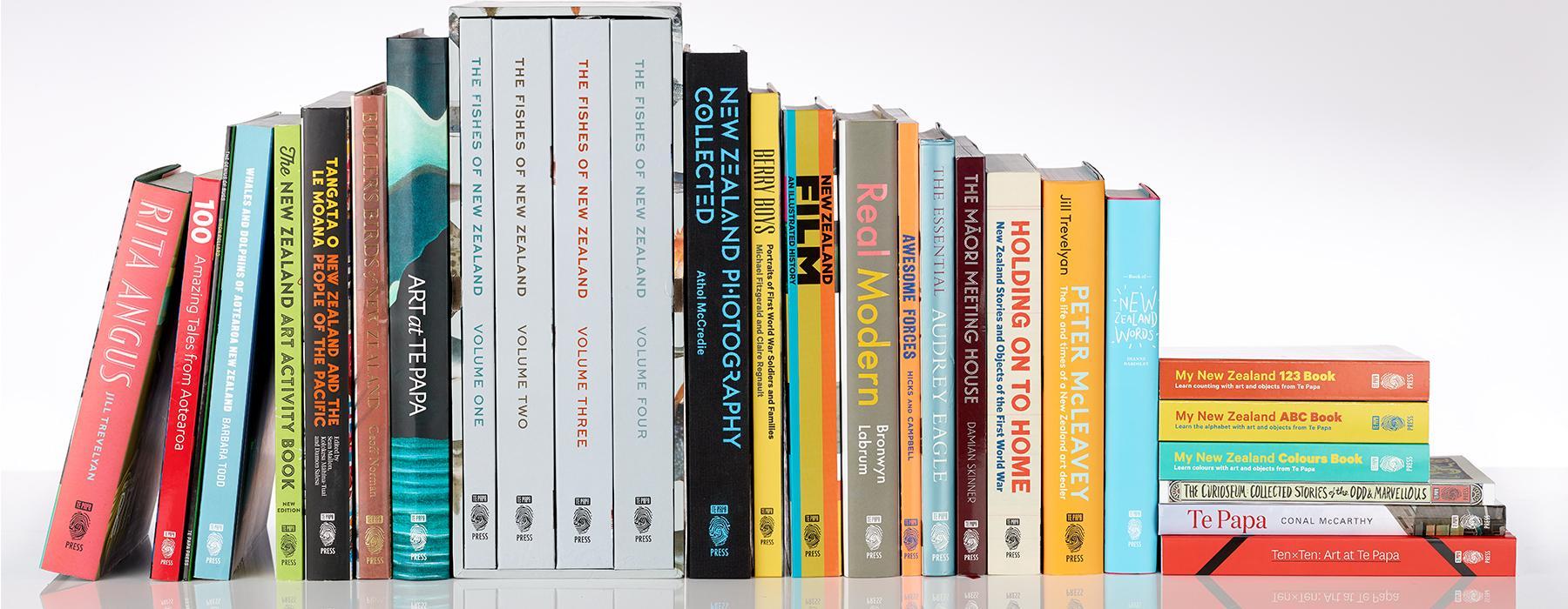 Selection of Te Papa Press titles, 2018. Photograph by Maarten Holl. Te Papa.