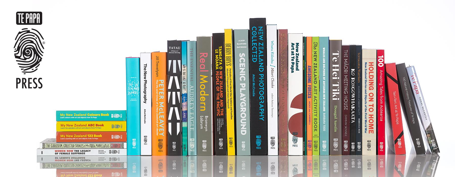 Selection of Te Papa Press titles, 2019. Photograph by Maarten Holl. Te Papa.