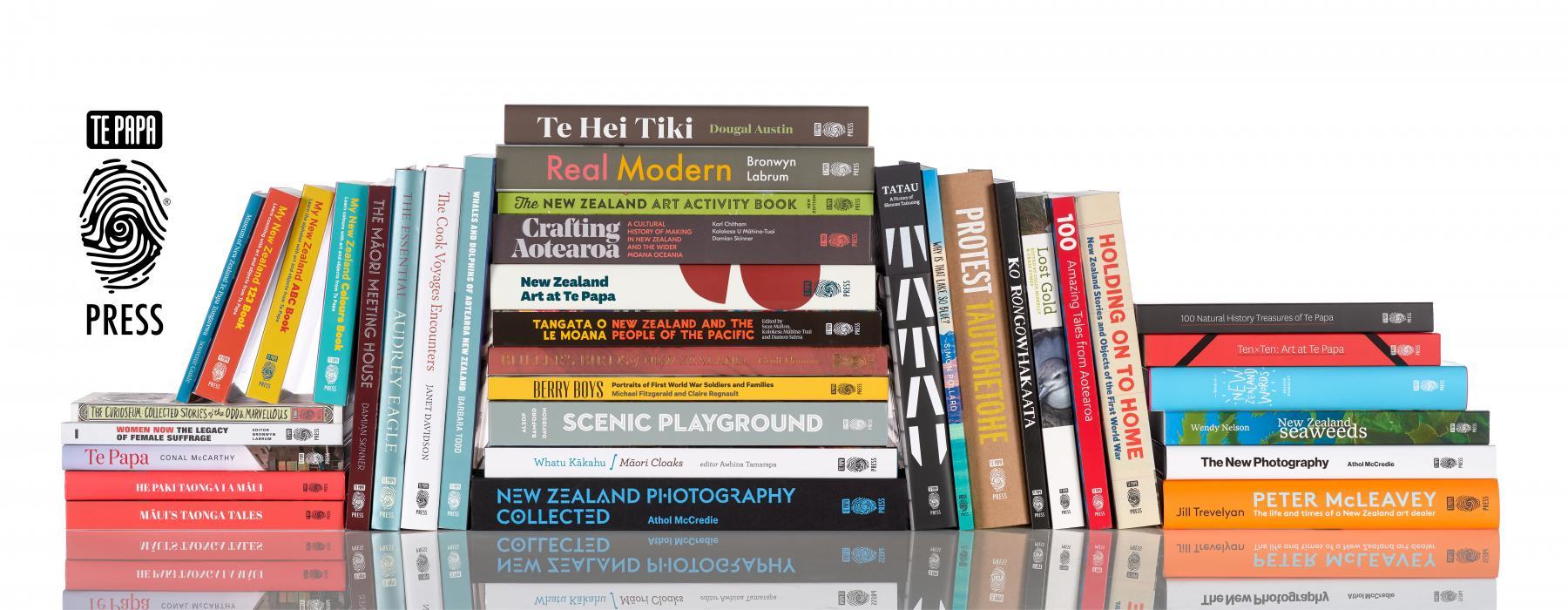 Te Papa Press titles, 2020. Photograph by Maarten Holl. Te Papa.