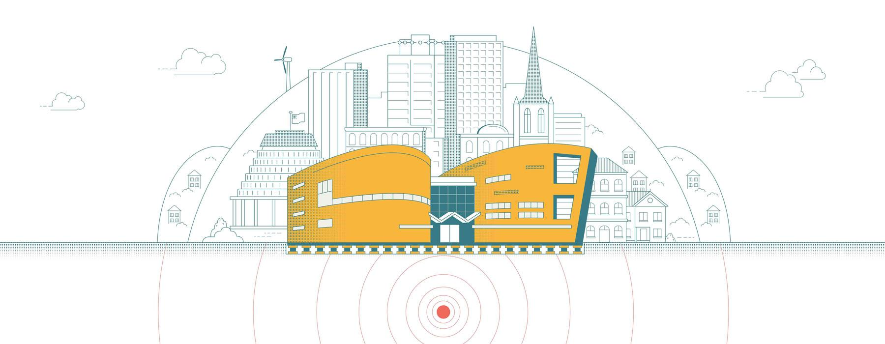 Illustration of Te Papa with a number of other buildings in the background