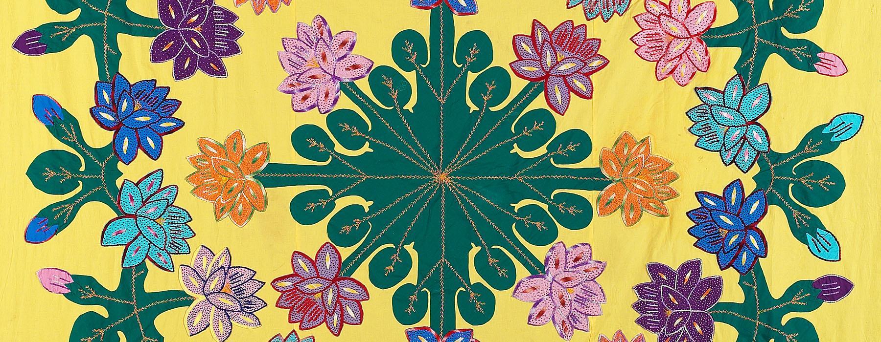 Tivaevae yellow patchwork quilt