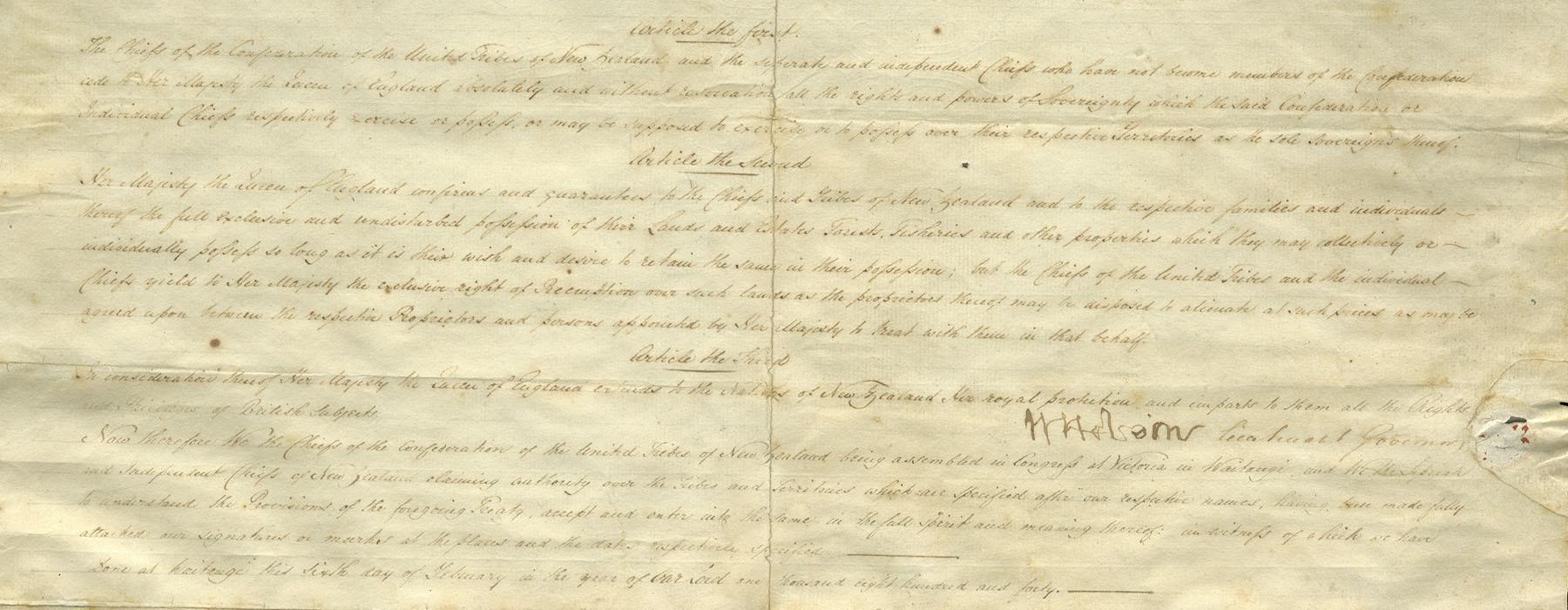 Close up of the Te Tiriti ki Waikato-Manukau   Waikato-Manukau sheet, showing the beginning of the English text