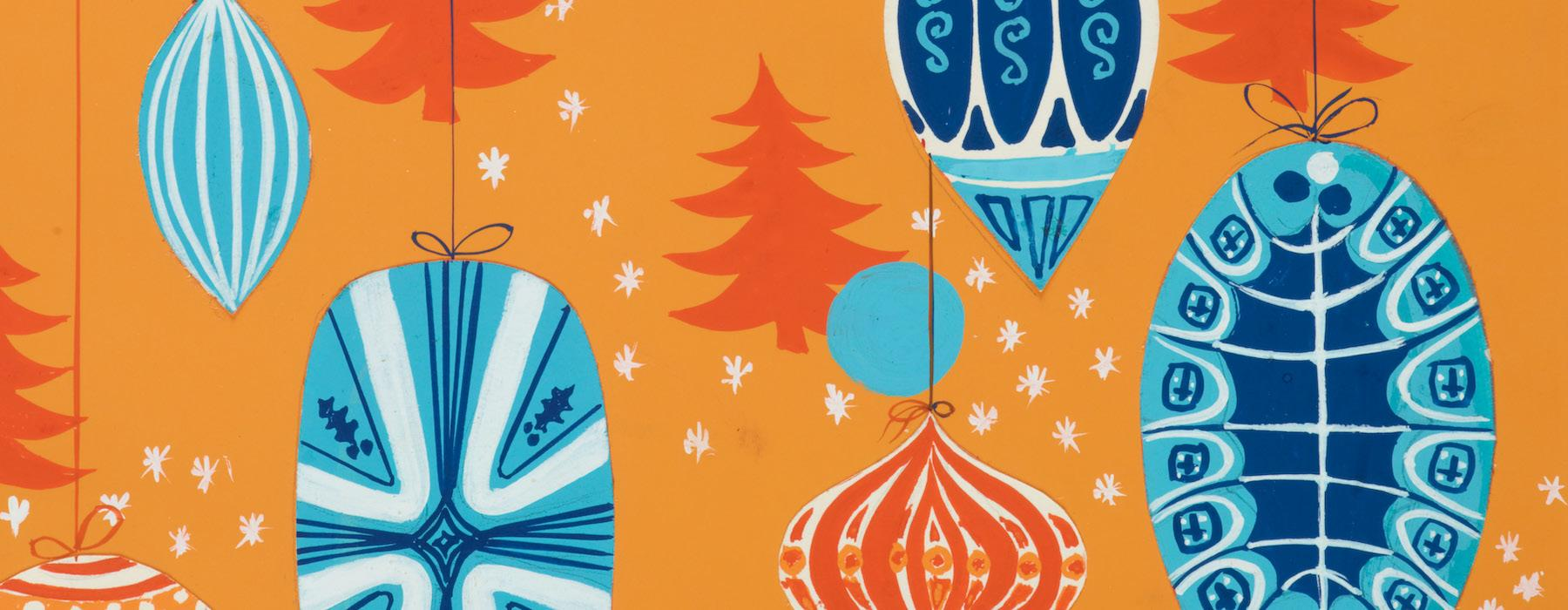An image of blue stylised Christmas decorations and trees on an orange background