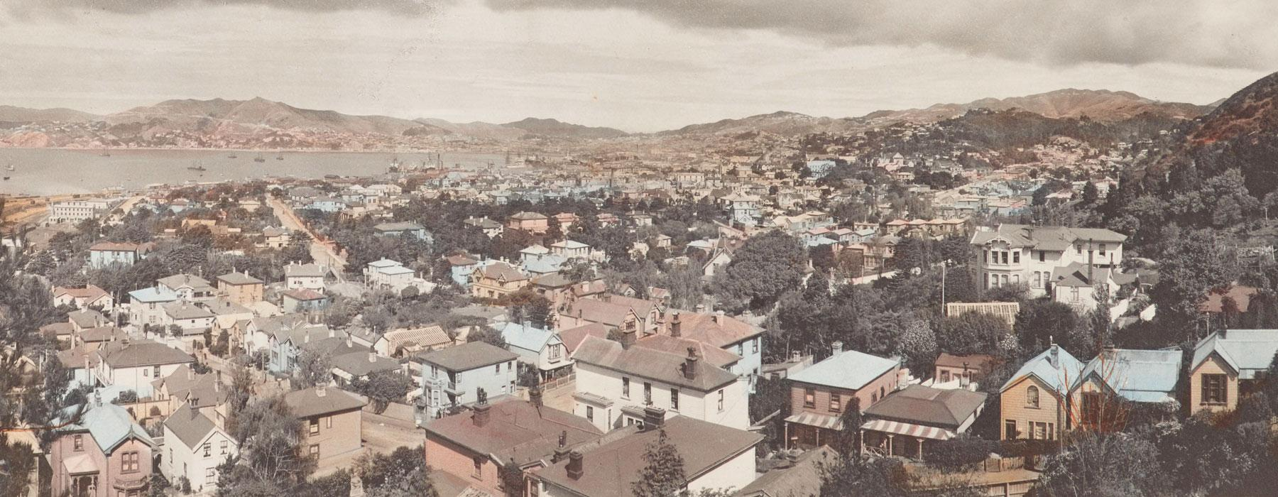 A coloured photo of lots of houses