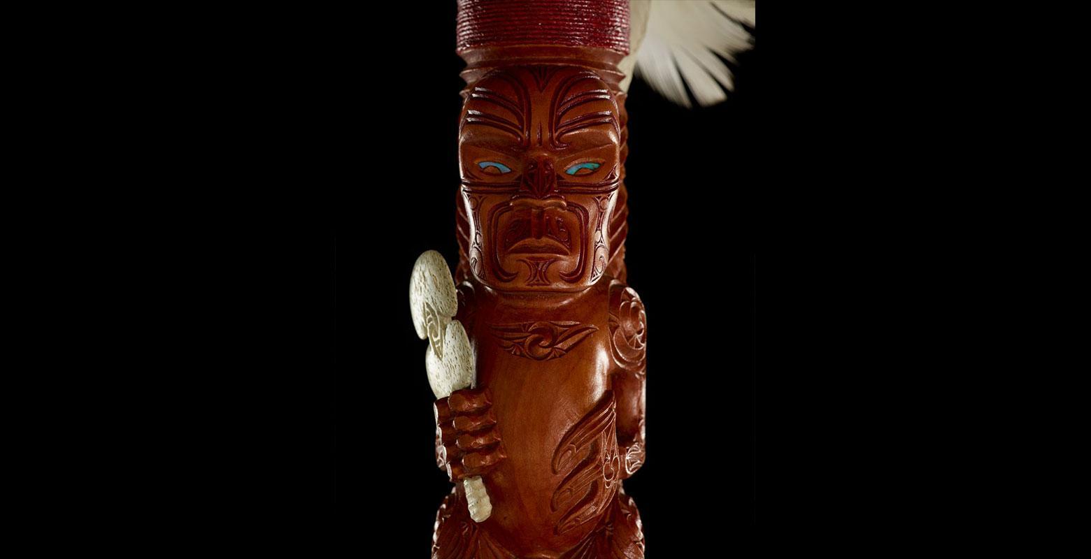Detail from pūkāea (trumpet)
