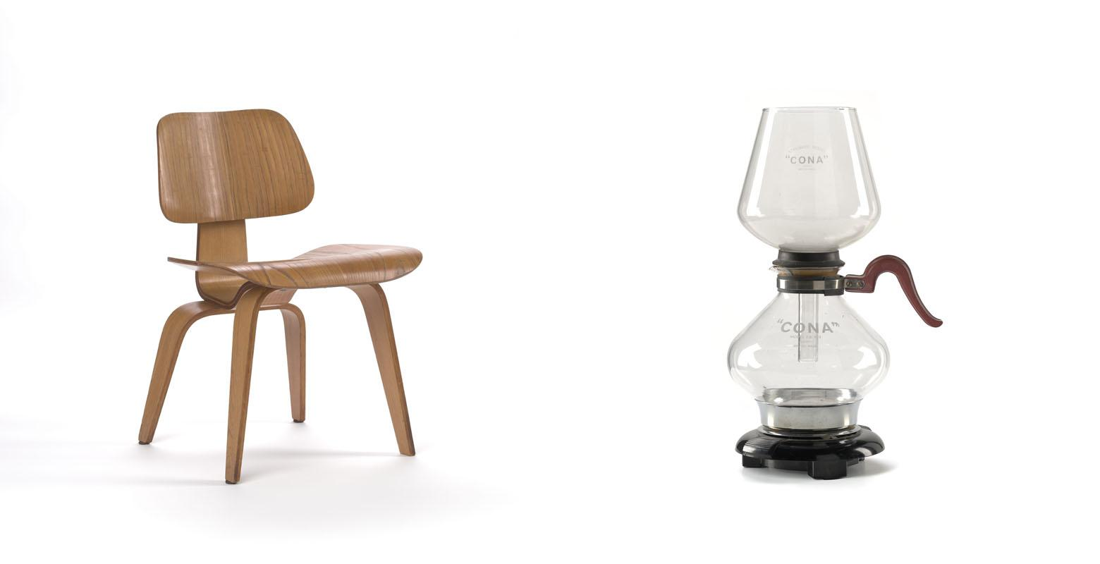 Composite image of a wooden dining chair and glass hourglass-shaped coffee maker