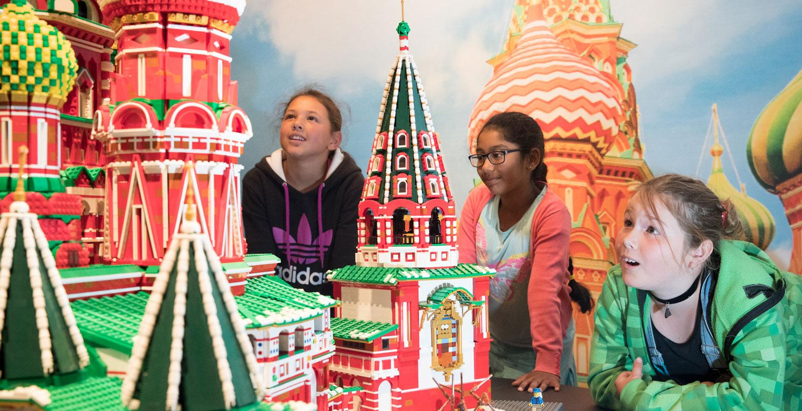 Children with the Kremlin made from Lego
