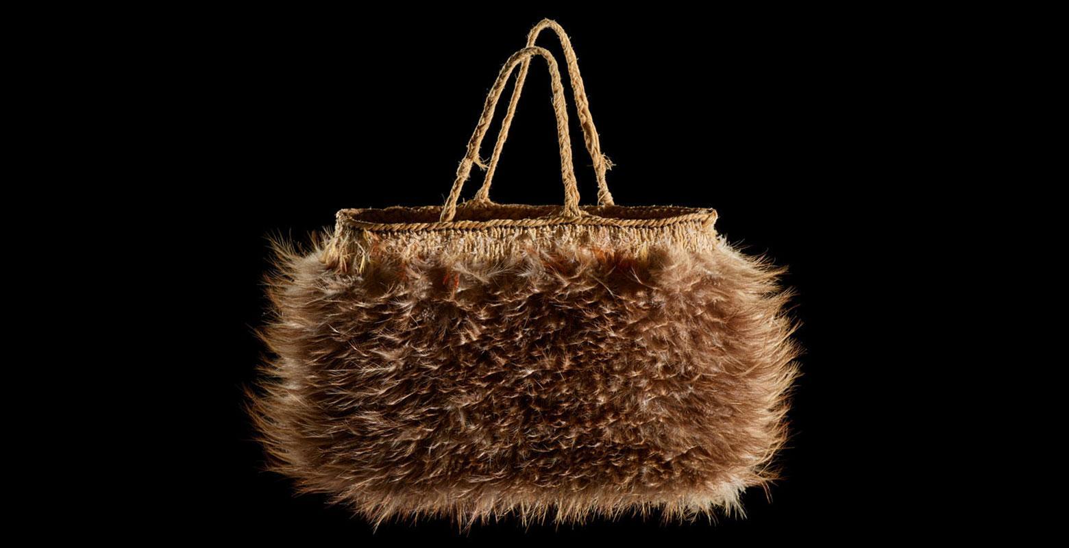 Bag made of kiwi feathers