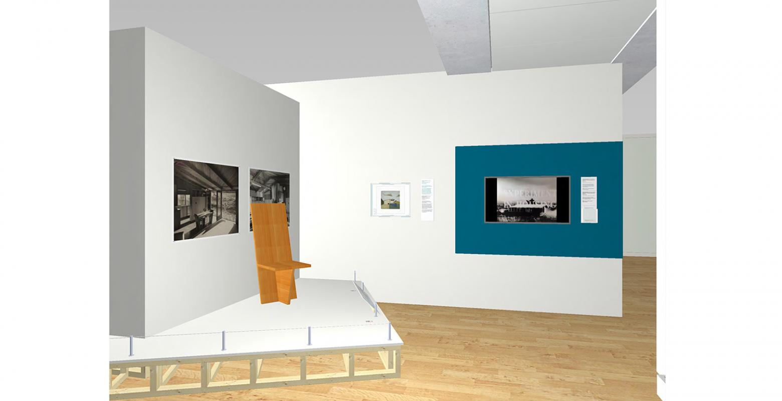 Computer drawing of an exhibition space
