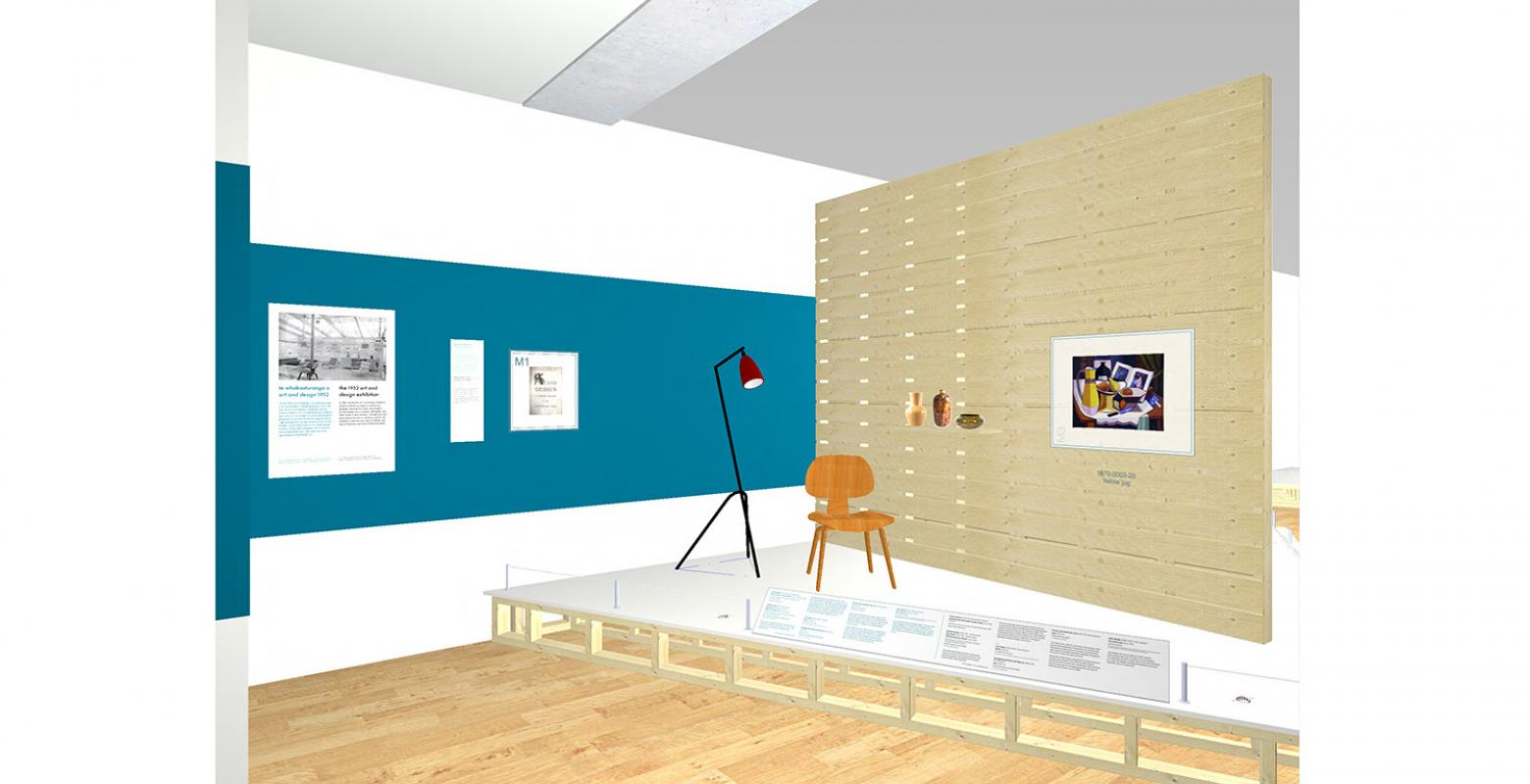 A computer drawing of a space in a museum