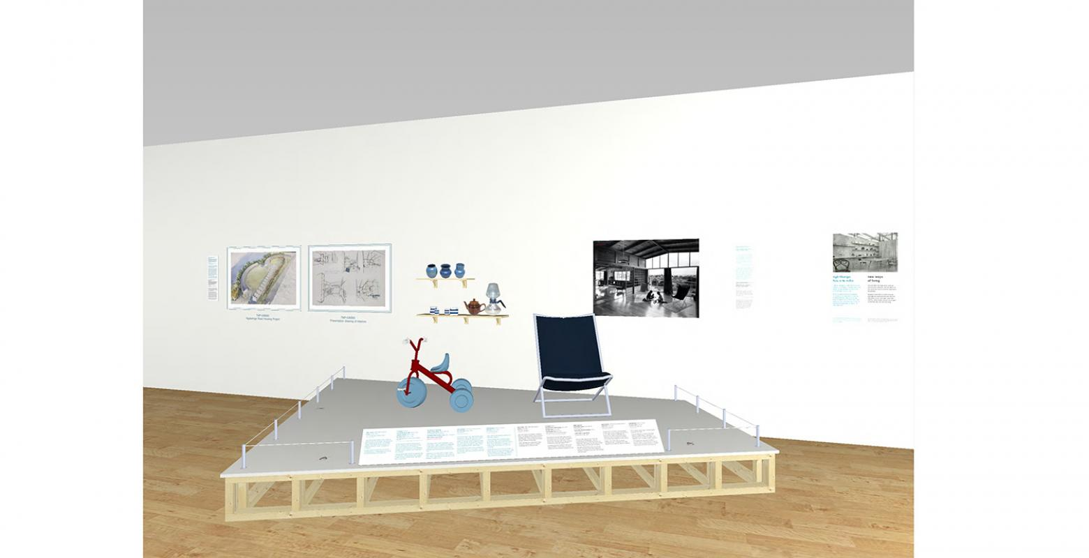 A computer drawing of an exhibition space