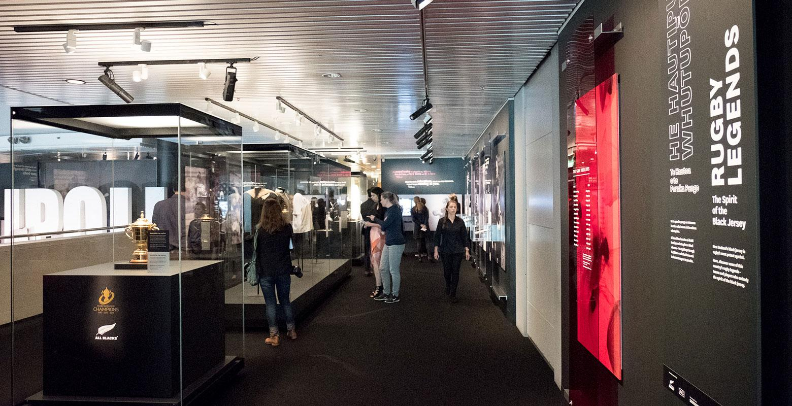 Inside of the rugby exhibition