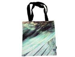Tote bag with bird feathers printed on it
