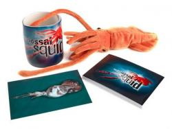 squid mug, toy, and postcard