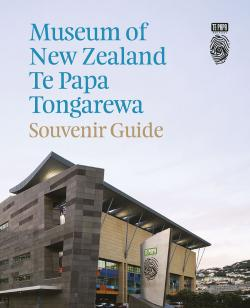 Front cover of Te Papa souvenir guide showing the building