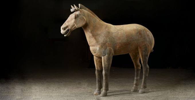 Full size terracotta chariot horse